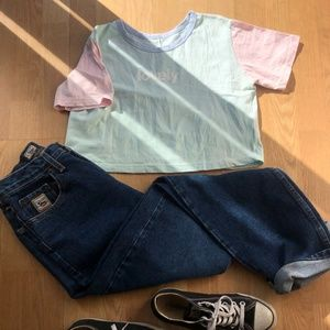 """Pastel """"Lovely"""" Cropped T-Shirt"""